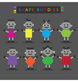 cute basic shape body buddies characters icons set vector image vector image