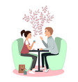 cute couple seating in cafe communication and vector image vector image