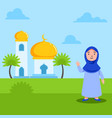 cute girl moslem in front mosque vector image vector image