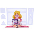cute little girl watch cartoons on a tablet child vector image