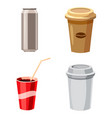fast drinks icon set cartoon style vector image