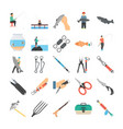 fishery flat icons vector image vector image
