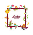 flat mexico attributes with place for text vector image vector image