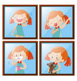 girl in four different actions vector image vector image