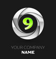 green number nine logo symbol in the silver circle vector image