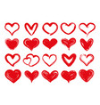 grunge hearts hand drawn red heart sweethearts vector image
