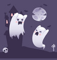 halloween ghosts outside a haunted old castle at vector image