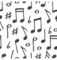 hand drawn music notes seamless pattern design vector image vector image