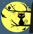 happy halloween a black cat sits on a tree vector image