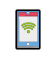 line color smartphone technology with wifi vector image