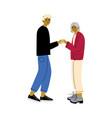old mother holding hands her adult son happy vector image vector image