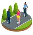 People on One-wheeled Self-balancing electric vector image