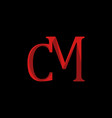 red letter cm stylish logo design vector image vector image