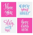 Romantic love lettering typography set vector image vector image