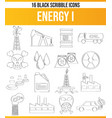 scribble black icon set energy i vector image