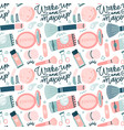 seamless pattern with flat style colorful makeup vector image vector image