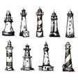 Set of cartoon lighthouses icons pencil drawing