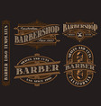 set of vintage barbershop emblems logos badges vector image vector image