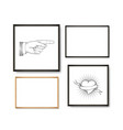 set realistic light and dark wooden picture vector image