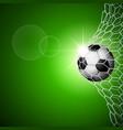 soccer ball in goal green vector image vector image