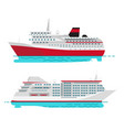 spacious luxury cruise liner and big red steamer vector image vector image