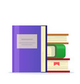 stack of books with a bookmark icon for library vector image