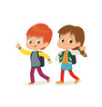 two kids with backpacks vector image