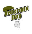 Veterans Day Text with army token and green beret vector image vector image