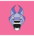 Violet and blue low poly wild cat vector image vector image