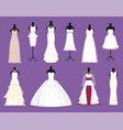 wedding bride white dresses set bride vector image