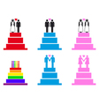 wedding cakes with couples set vector image vector image