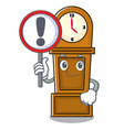 with sign grandfather clock character cartoon vector image vector image