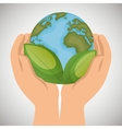 world with leaves hands holds ecology icon vector image vector image