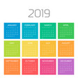 year 2019 calendar with colorful months week vector image