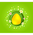 Yellow Easter egg with spring element card vector image vector image