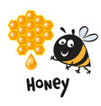 bee icon pretty bee with honeycomb logo image vector image