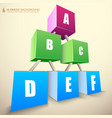 3d cubes business infographics vector image vector image
