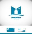 Alphabet letter M flat blue logo icon vector image vector image