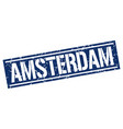 amsterdam blue square stamp vector image vector image