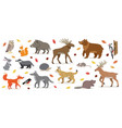 big set forest woodland animals isolated vector image