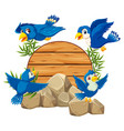 bird with wooden bamboo vector image