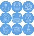 Blue round marine icons vector image vector image