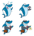blue shark cartoon character collection set - 5 vector image vector image