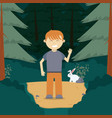 boy in the forest cartoon vector image