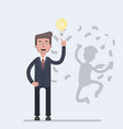 businessman with idea bulb and his successful vector image vector image