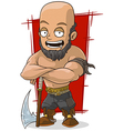 Cartoon big executioner with axe vector image vector image