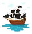 cartoon pirate ship with black sails vector image