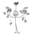 cartoon rich man or businessman loving money vector image vector image