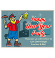 celebrate new year party retro poster vector image
