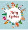 christmas card with cute dressed animals and vector image vector image